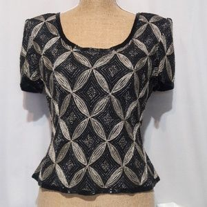 PAPE'LL Boutique  Beaded trim metallic M Top EUC